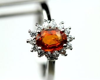 Beautiful Genuine Spessartite Garnet in a Glowing Accented Halo Sterling Silver Setting