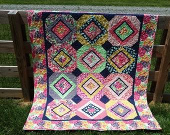 Monet's Garden Lap Quilt, Twin Quilt, Throw