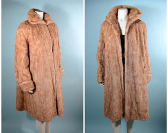 Vintage 40s Mink Coat/ Swing Era w/Bell Sleeves/ Hollywood Film Noir Style Fur Coat L/XL