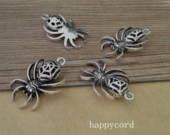 12pcs of Antique silver Hollow out  spider pendant Charms 21mmx30mm