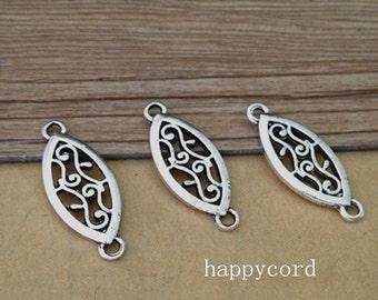 30pcs  Antique silver oval Pendant charm 10mmx25mm