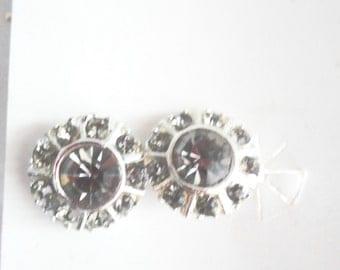 Retro Kitsch Mid Century Signed Lady Carrington Tone Silver Rhinestone Clip On Earrings Jewelry