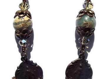 Bronze Miraculous Medal Catholic Heirloom Wire Wrapped Jewelry