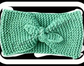 Knotted Headband Knitted Turband Ear Warmer in Mint Green. Ear Warmer, Head Dress, Winter Fashion, Hair Bands Hair Coverings for Women
