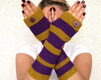 Fingerless Gloves, Long Gloves, knitted gloves, arm warmers fingerless mittens,  Striped Fingerless gloves in harvest colors, boho fashion.