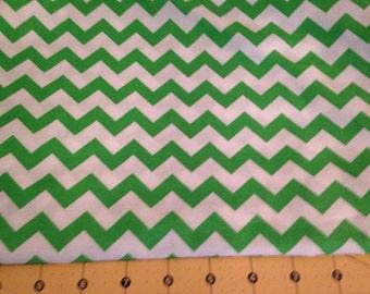 Full Yard - Green Chevron Fabric By The Yard - One Yard Cut Green Green 1/2 Inch Chevron Half Inch Chevron Cotton Fabric