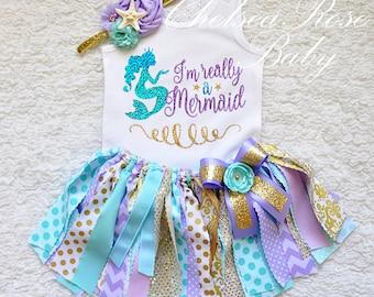 Mermaid Aqua Lavender gold 1st Birthday tutu set, 2nd birthday Aqua purple Birthday tutu, 2nd Birthday girl I'm Really a mermaid outfit