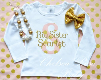 Pink and Gold Big Sister shirt, Personalized Birthday shirt, Big Sister outfit, Baby First Birthday Shirt, 1st Birthday outfit, Pink Gold
