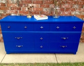 Mid Century dresser in Blue- RESERVED for Belynda