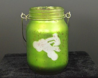ATV / Quad Rider Sand Blasted Mason Jar with Red Soy Candle and Plumeria Scent
