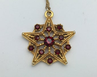 Star Necklace Ruby Red Rhinestone Star pendant