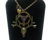 Gothic Necklace, Brass Deer Skull, Steampunk Necklace, Lenore, Dirge, Brass Necklace, Deer Pendant, Watch Gears, Antlers, Brass Heart