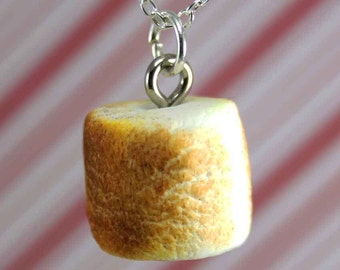 roasted marshmallow necklace kawaii polymer clay charms miniature food jewelry polymer clay food necklace toasted marshmallow charm