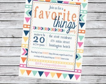 Favorite Things Party Invite, Party Pack, Arrows, Tribal