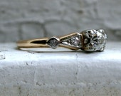 Sweet Art Deco Vintage 14K Yellow Gold Diamond Ring Engagement Ring.