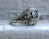 Beautiful Vintage 14K White Gold Aquamarine and Diamond Filigree Ring - 0.70ct.