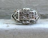 Vintage 10K Rose Gold Diamond Cluster Engagement Ring.
