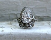 Pear Diamond Halo Engagement Ring in 14K White Gold - 1.65ct.