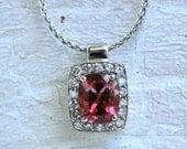 Beautiful 14K White Gold Diamond Halo and Pink Tourmaline Necklace - 3.54ct.