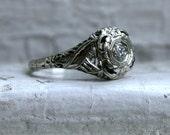 Vintage Filigree 18K White Gold Diamond Solitaire Engagement Ring.