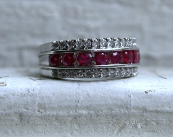 RESERVED - Sparkly Vintage Three Row Diamond  and Ruby 14K White Gold Wedding Band Ring - 1.99ct.