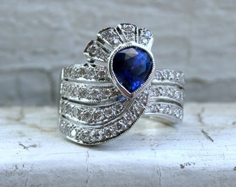 RESERVED - Stunning Vintage Art Deco 18K White Gold Diamond and Sapphire Ring - 2.10ct.