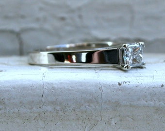 Traditional Vintage Princess Cut Diamond Solitaire Engagement Ring by Magic Glo.