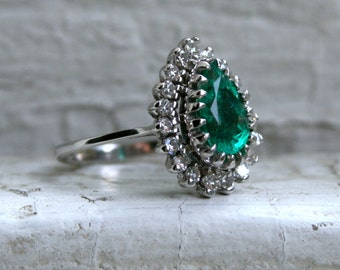 RESERVED - Gorgeous Vintage Emerald and Diamond Halo Engagement Ring - 1.92ct.