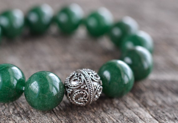 ON SALE 12mm Green Aventurine Bracelet Gemstone Bracelet Womens Mens Bracelet Bead Bracelet Silver Heart Bracelet Rare Stone Jewelry Gifts