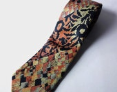 Vintage Courchevel Silk Tie Multicolor Orange Black