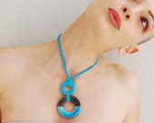 Ceramic minimal necklace, geometric necklace, circle raku ceramic pendant, turquoise pendant, minimal modern jewelry, ceramic jewelry