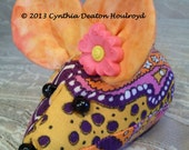 "CDH ""Three Blind Mice..."" DECORATIVE Infant Mouse or Pin Cushion 4"" Flowers Paisley Orange With Tie-Dye Ears With Hot Pink Curley Flower #69"