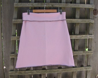 Ballet Pink Aline Skirt/ Funky Retro Vintage Polyester Stretch Knit Knee Length Skirt Size Large