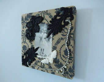 Collage Picture - Victorian Picture - Wall Hanging - Vintage French Postcards - Mixed Media Picture - Memory Box Picture