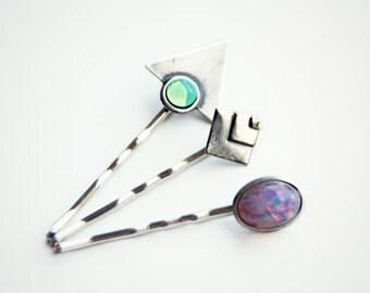 silver geometric opal bobby pin set, triangle bobby pin, pink opal bobby pin, green opal bobby pin, geometric hairpins, opal hairpin