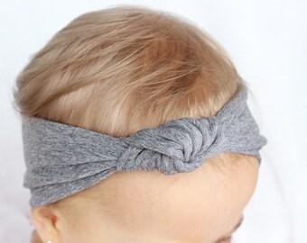 Charcoal Gray Knit Turban, Baby Gray Turban Headband, Baby Hair Accessories, Toddler Turbans, Girl Headbands, Modern Baby Headband