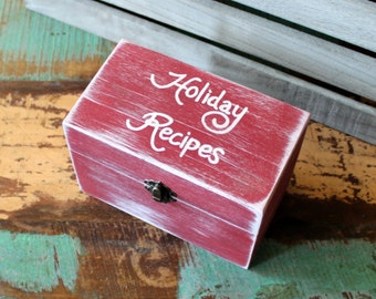 Holiday Recipe Box Holds 4 x 6 Cards