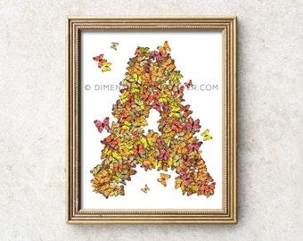 A Monogram art print, butterfly nursery decor, monogram art, monogram print, monogram letters, monogram letter for nursery baby shower gift.