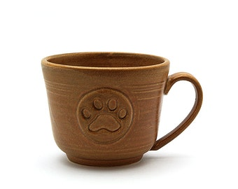 Paw Print Pottery Coffee Mug, Brown Ceramic Pottery Tea Cup, Pawprint Pet Lovers Ready to Ship Father or Husband Gift by MiriHardyPottery