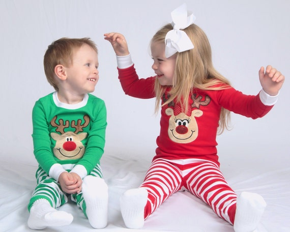 Family Christmas pajamas top and pants sets Reindeer or Santa applique green red & white stripes baby toddler kids monogrammed PJs IN STOCK