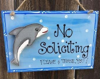 DOLPHIN NO SOLICITING Sign ocean Beach Style Decor Home Porch