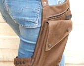 Brown Water Resistant Leg Bag with Leg Strap and Custom fit Belt with Military Buckle