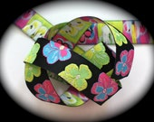 "Pansey Ribbon - 1"" (24mm) x 3 yards - Black, Pink, Blue, Yellow, Lime Green - Darling - New Arrival"