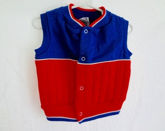Vintage Baby Vest 80s Boy Toddler 9-12 mos Red white and Blue Sporty