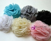 The Ella Collection - Tulle/Mesh Flowers - DIY Flower Headband - Holiday Wedding Bridal Flowers - Chiffon Flower Fabric Puff Blossoms Crafts