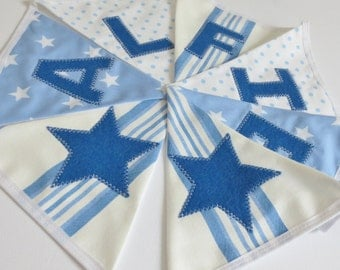 Personalised Name Personalized Name Boys Bunting Banner Blue White Stripes Polka Dot Spots Stars - Priced per flag