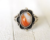 1970's vintage sterling silver orange and white Agate ring / boho bohemian navajo southwestern jewelry