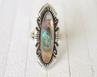 1970's Vintage Southwestern Abalone Shell sterling silver ring / navajo bohemian jewelry / statement piece