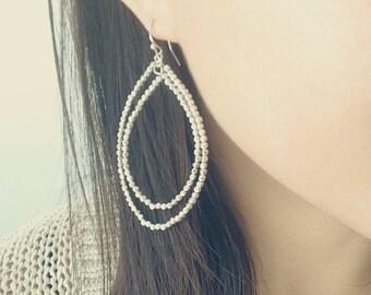 ON SALE Delicate simple everyday beaded oval hoop earrings - silver