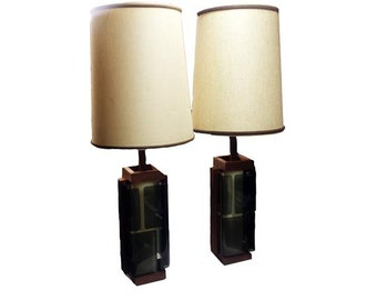Vintage Smoked Lucite Lamps 1960s Mid Century Danish Modern Table Lamp